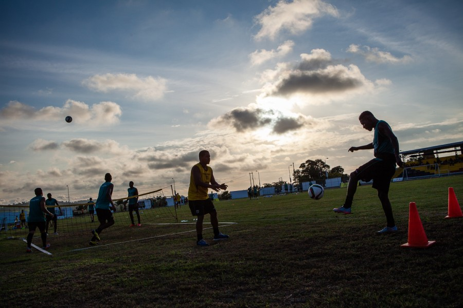 RIO VERDE, ECUADOR. - JAN. 14, 2016: Barcelona Sporting Club team members run through drills during pre-season afternoon practice on January 14, 2016 at the government operated Centro de Entrenamiento para el Alto Rendimiento. Bear Guerra for the New York Times