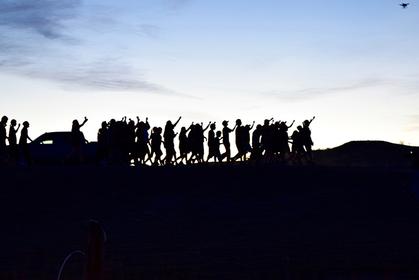 A group of youth demonstrators marching from Cannonball River to the Oceti Sakowin Campground. (Photo: Jacqueline Keeler)